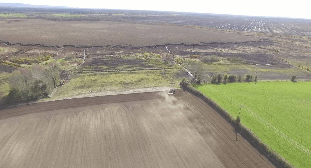 A drone image commissioned by ICMSA showing how close privately owned farms are to the bogs earmarked for rewetting - Photographer Mark Grennan